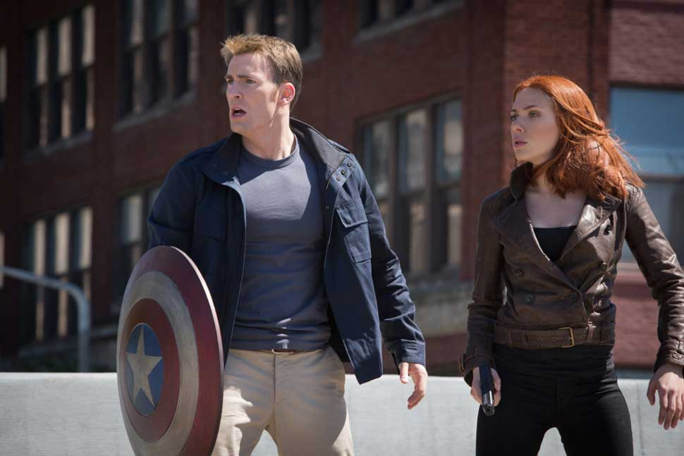"""Marvel's Captain America: The Winter Soldier""..L to R: Captain America/Steve Rogers (Chris Evans) & Black Widow/Natasha Romanoff (Scarlett Johansson) ."