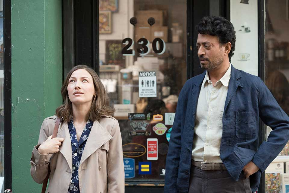 Left to right: Kelly Macdonald as Agnes and Irrfan Khan as Robert Photo by Linda Kallerus, Courtesy of Sony Pictures Classics