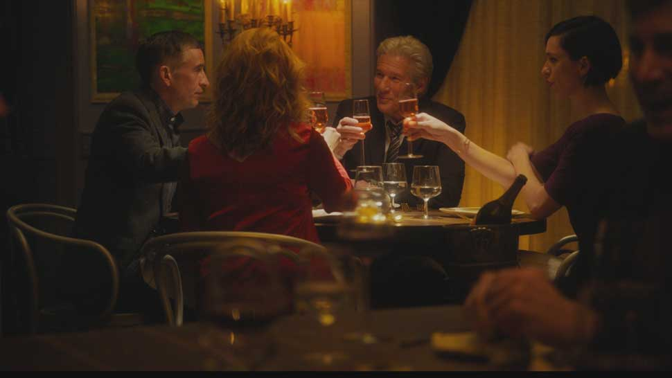 "L to R: Steve Coogan, Laura Linney, Richard Gere, and Rebecca Hall in ""The Dinner."" Photo credit: Kalie Watch"