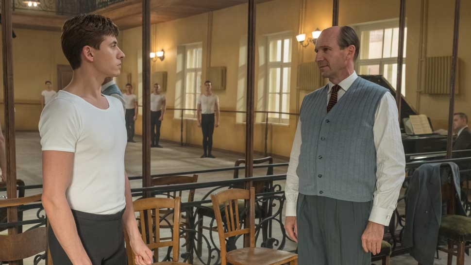 Left to right: Oleg Ivenko as Rudolf Nureyev, Ralph Fiennes as Alexander Pushkin Photo by Larry Horrocks. Courtesy Sony Pictures Classics.